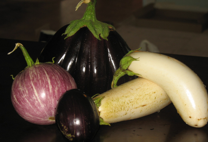 Pink, Black, and White Eggplant